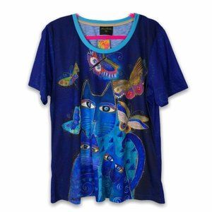 Laurel Burch Whimsical Kitty Cat Tee Top Blue Size